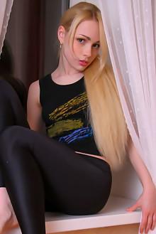 Olya N in Black Leggins by Thierry Murrell indoor blonde shaved