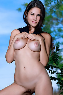 Martina Mink in Provocative by Matiss outdoor woods sunny brunette black hair blue eyes boobies busty shaved pussy
