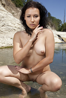 Presenting Maliko by Marlene outdoor river brunette brown eyes shaved pussy tattoo