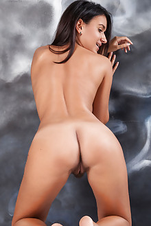 Presenting Sanita by Ron Offlin indoor brunette brown eyes tanned busty boobies hairy unshaven pussy ass hips bush latest