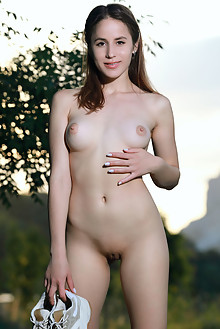 Annamalia in Bike Shorts by Matiss outdoor sunny sunset brunette brown eyes boobies shaved pussy ass