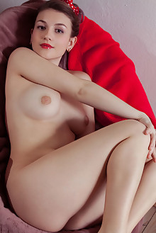 Isabele in Red Berries by Albert Varin indoor brunette brown eyes boobies shaved pussy tight