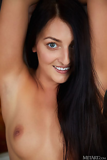 Katy Rose in Smile Bright by Erro indoor brunette black hair green eyes shaved pussy custom