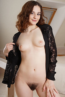 Presenting Juana by Egon Schneider indoor brunette brown eyes hairy unshaven bush pussy