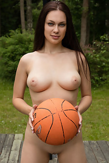 Marion in Play With Me by Koenart outdoor woods brunette blue eyes boobies busty shaved pussy ass