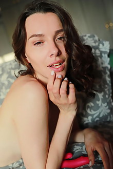 Adel Morel in Sexting by Blake Jasper indoor brunette brown eyes small tits shaved pussy dildo