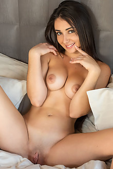 Dionisia in My Suite by Tora Ness indoor brunette brown eyes shaved pussy ass