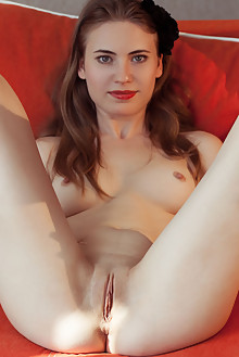 Alaine in Show And Tell by Albert Varin indoor brunette blue eyes shaved pussy ass custom