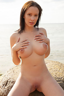 Agatha in Fiya by Koenart outdoor sunny beach brunette black hair brown eyes boobies busty shaved pussy ass custom latest