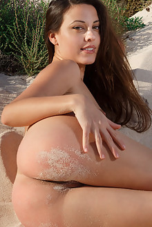 Lorena B in Lighthouse by Luca Helios outdoor sunny beach brunette hazel eyes shaved pussy