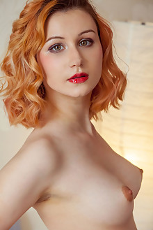 Presenting Spice by Albert Varin indoor redhead green eyes boobies hairy unshaven pussy tight custom