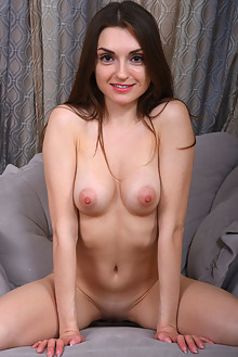 Julietta in Cozy Evening by Fabrice indoor brunette brown eyes petite shaved pussy