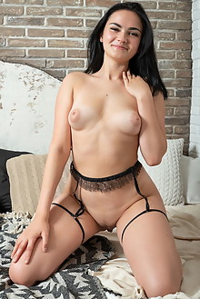 Mileva in Pallet by Tora Ness indoor brunette black hair hazel eyes petite boobies shaved pussy