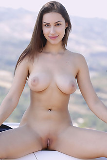 Angelina Socho in Passenger by Dave lee outdoor brunette brown eyes boobies shaved custom