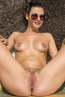Jasmine Jazz in By The Pool by Charles Hollander outdoor sunny poolside brunette brown eyes hairy trimmed pussy