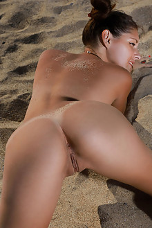 Rosella in Beach Buns by Matiss outdoor sunny brunette brown eyes beach shaved pussy tanned ass custom