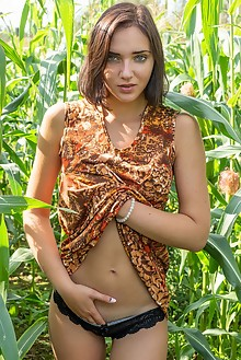 Oxana Chic in Corn Field by Tora Ness outdoor sunny brunette blue eyes shaved ass pussy fingering