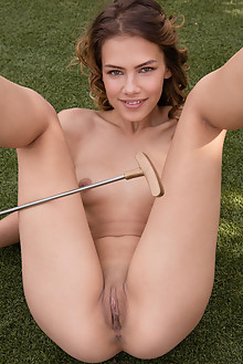 Laina in Putt Putt by Koenart outdoor sunny redhead hazel eyes shaved pussy ass custom