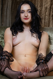 Presenting Anthea by Albert Varin indoor brunette brown eyes boobies shaved pussy