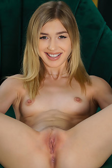 Presenting Mackenzie Moss by Luca Helios indoor blonde green eyes small tits shaved pussy