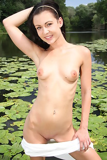 Kara Rosemary in At The Pond by John Bloomberg outdoor sunny brunette black hair brown eyes river wet shaved latest