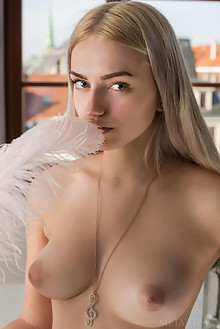 Susann in Eziny by Tora Ness indoor blonde blue eyes boobies puffy nipples hairy bush unshaven pussy custom