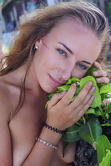 Renata A in Fun Loving by Angela Linin outdoor beach sunny blonde blue eyes shaved