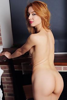 Rozalina in Jean Short by Leonardo indoor redhead brown eyes...