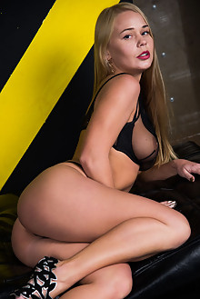 Sarika A in Hazardous by Stan Macias indoor blonde blue eyes boobies trimmed pussy toys