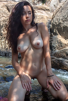 Madivya in Madivya by Angela Linin outdoor river waterfall sunny brunette boobies shaved wet