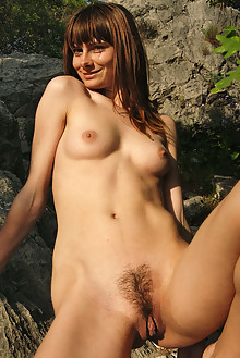 Iren F in Scenic Views by Stanislav Borovec outdoor sunny brunette blue eyes boobies hairy unshaven pussy
