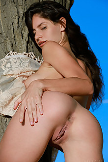 Yasmina in Timar by Matiss outdoor sunny woods brunette black hair green eyes boobies shaved pussy custom