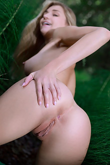 Christine Cardo in Nature Journey by Matiss outdoor woods blonde green eyes shaved pussy