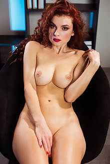 Veronika Glam in Fiery Hair by Karl Sirmi indoor redhead green eyes boobies shaved pussy ass custom