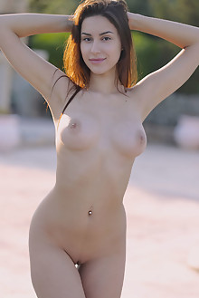 Angelina Socho in Wet T Shirt by Dave Lee outdoor sunny poolside brunette brown eyes boobies busty shaved pussy