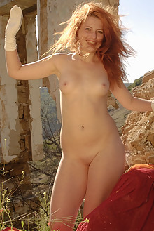 Aelit in White Gloves by Stanislav Borovec outdoor sunny redhead shaved