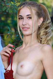 Aileen in Glamour In Nature by Matiss outdoor woods blonde brown eyes shaved tight pussy custom
