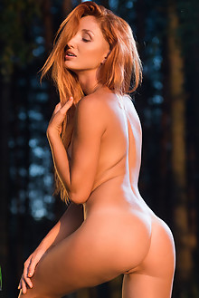 Michelle H in Laiee by Karl Sirmi outdoor woods sunset river redhead blue eyes shaved ass tight latest