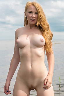 Presenting Helene by Tora Ness outdoor sunny beach redhead blue eyes boobies trimmed pussy latest
