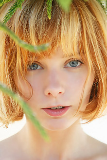 Lily in Fleurotix by Rylsky outdoor redhead blue eyes