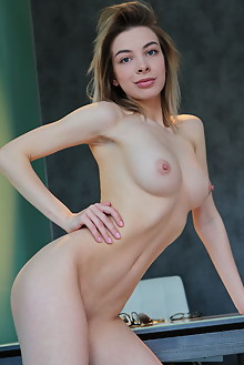 Eva Tali in Corset and Heels by Leonardo indoor blonde blue eyes boobies shaved pussy custom