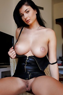 Lucy Li in Flenad by Erro indoor brunette black hair green eyes boobies busty hairy unshaven pussy tight pinky latest