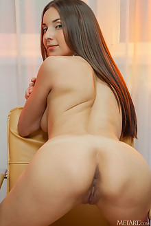 Breann in Yellow Rose by Catherine indoor brunette brown eyes boobies shaved ass pussy custom