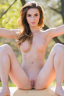 Cara Mell in Sommi by Karl Sirmi outdoor sunny woods brunette blue eyes boobies ass shaved pussy latest