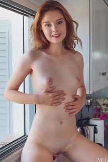 Sienna in Break Room by Alex Lynn indoor redhead green eyes puffy nipples shaved pussy custom