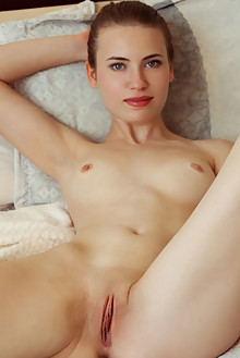 Alaine in Slicked by Albert Varin indoor brunette blue eyes shaved pussy
