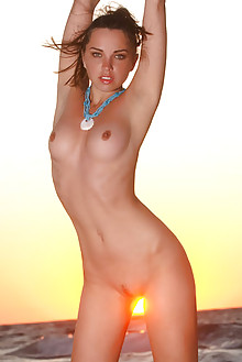 Anita E in Amanecer by Luca Helios outdoor brunette blue eyes sunrise sunset beach boobies shaved pussy sea latest