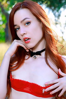 Sherice in Siren by Matiss outdoor woods sunny redhead brown eyes shaved pussy custom