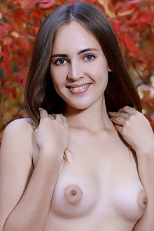 Hailey in Autumn Inspirations by Matiss outdoor blonde green eyes boobies shaved pussy ass
