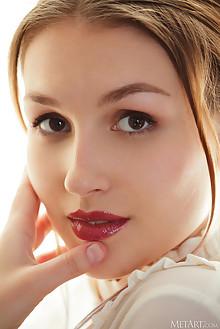 Isabele in Buttoned by Albert Varin indoor brunette brown ey...